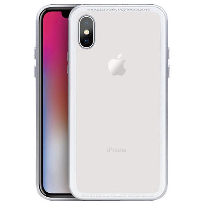 SwitchEasy iPhone X Glass Strong Metal Frame Case with Glass Backing, Silver