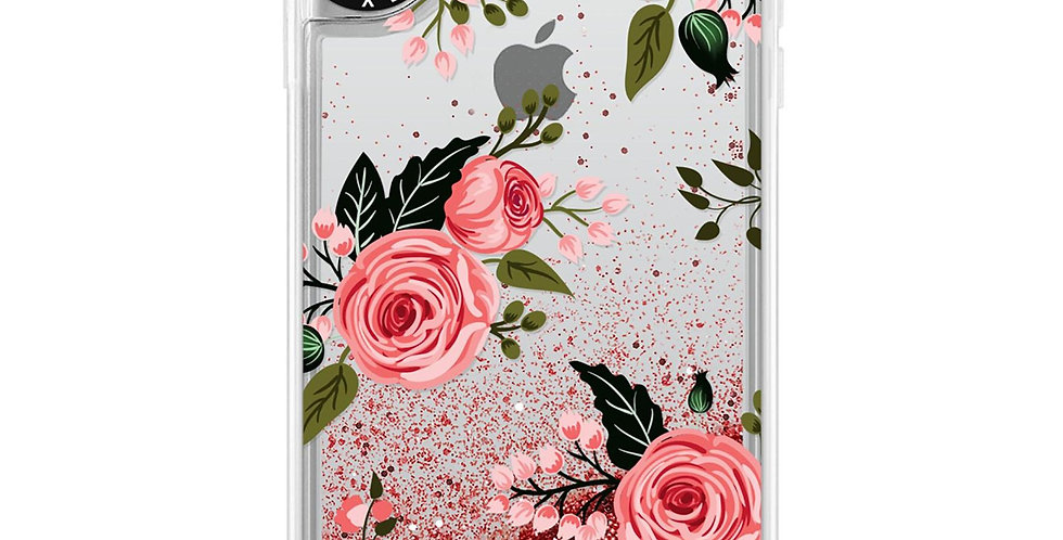 Casetify iPhone Xs Max Glitter, Rose Pink Floral and Roses Chic Feminine