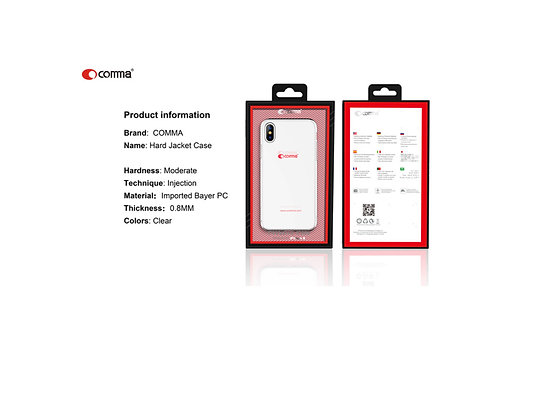 Comma iPhone X/Xs Hard Jacket Phone Case, Clear