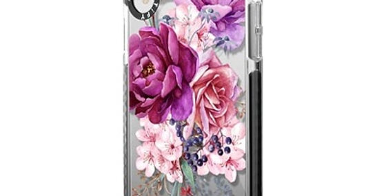 Casetify iPhone XR Impact Case, Frost Purple Peony Watercolor Floral Bouquet