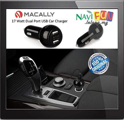 Macally Car Charger 17 Watt Dual Port USB