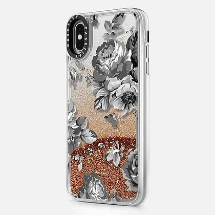 Casetify iPhone X/Xs Glitter Case, Monochrome Silver Black Floral Amour