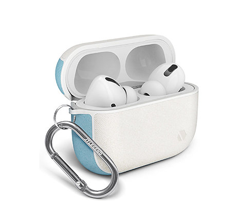 JTLegend AirPods Pro Amos Knitted Fabric Leather Case, White Sky Blue