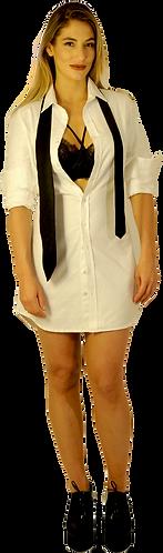 White Herringbone Dress Shirt Dress