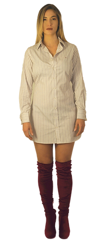 White Burgandy Striped Dress Shirt Dress
