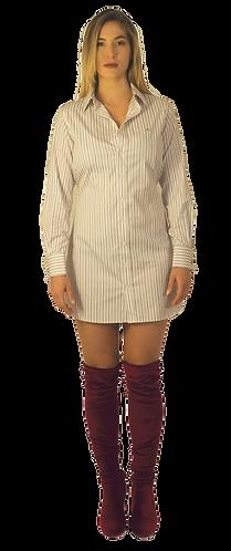 White Burgandy Striped Dress Shirt Dress