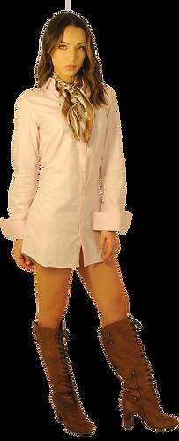 Pink Herringbone Dress Shirt Dress