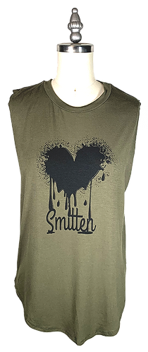 Olive Green Muscle Tee - Smitten Graphic