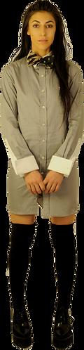 Grey Pinstripe Dress Shirt Dress