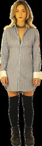 Blue/Navy/Red Striped Dress Shirt Dress