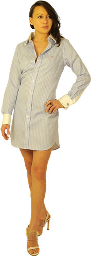 Light Blue Stripe Dress Shirt Dress