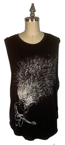 Black Muscle Tee - Guitar Lady Graphic