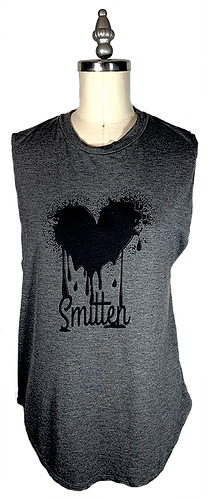 Charcoal Muscle Tee - Smitten Graphic