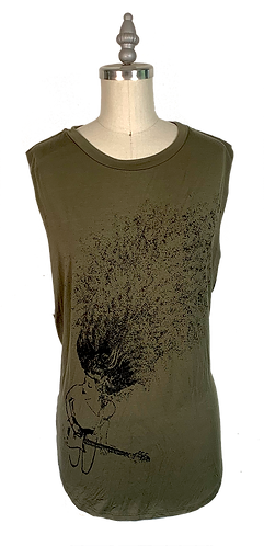 Olive Green Muscle Tee - Guitar Lady Graphic