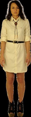 Yellow Herringbone Dress Shirt Dress