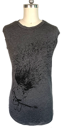 Charcoal Muscle Tee - Guitar Lady Graphic
