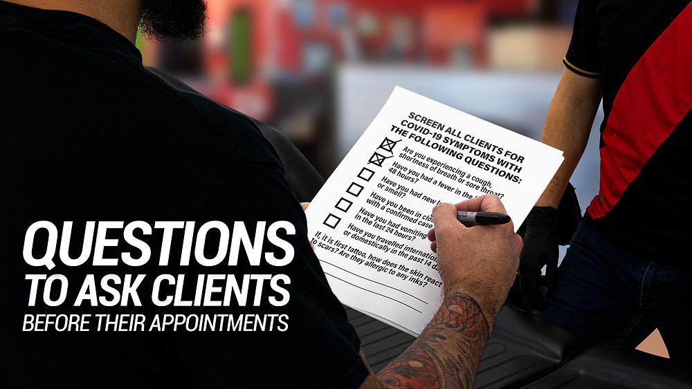 A man with a tattoo on his arm fills out a COVID-19 questionnaire in a tattoo shop before his appointment