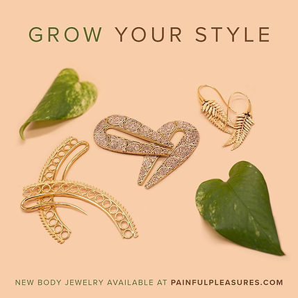 """Ad for exquisite goldtone filligree jewelry in the shape of leaves and with a couple of real leaves as part of the design, with the tagline: """"Grow Your Style"""""""