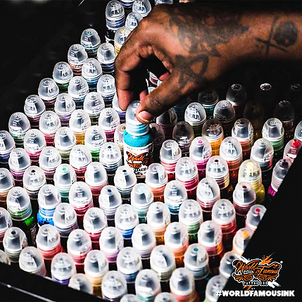 A collection of World Famous tattoo inks