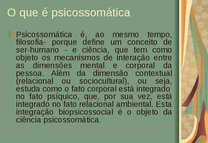 Doenças Psicossomáticas,uma linguagem corporal