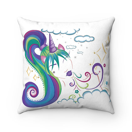 Unicorn Girl Faux Suede Square Pillow
