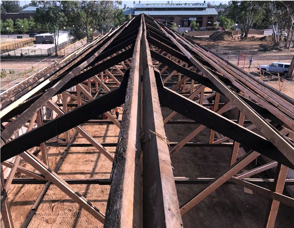 Figure 3 - Trusses of the Rondor Building after Roof Removal (Photograph courtesy of Architectural Resources Group, https://www.argsf.com/big-things-are-happening-at-rondor/)
