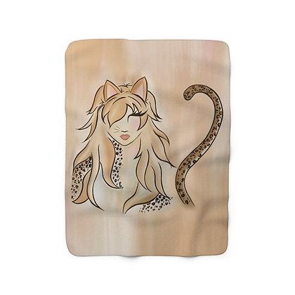 Miss Kitty Sherpa Fleece Blanket