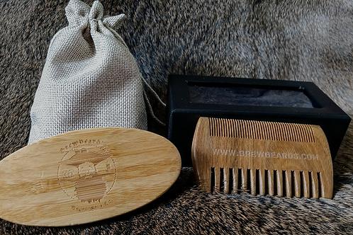 Brewbeard's Custom Logo Engraved Beard Brush and Comb set