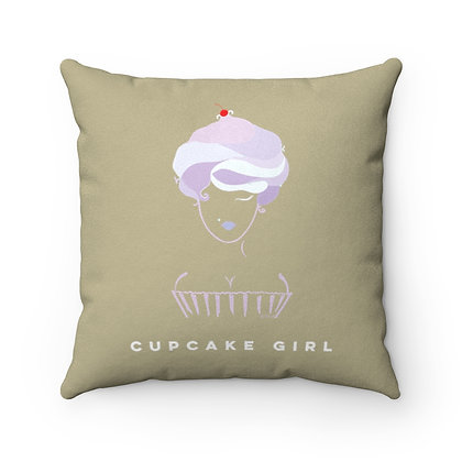 Cupcake Girl Faux Suede Square Pillow