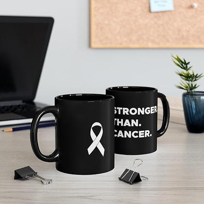 Stronger Than Cancer™  Right Handed black Mug 11oz.