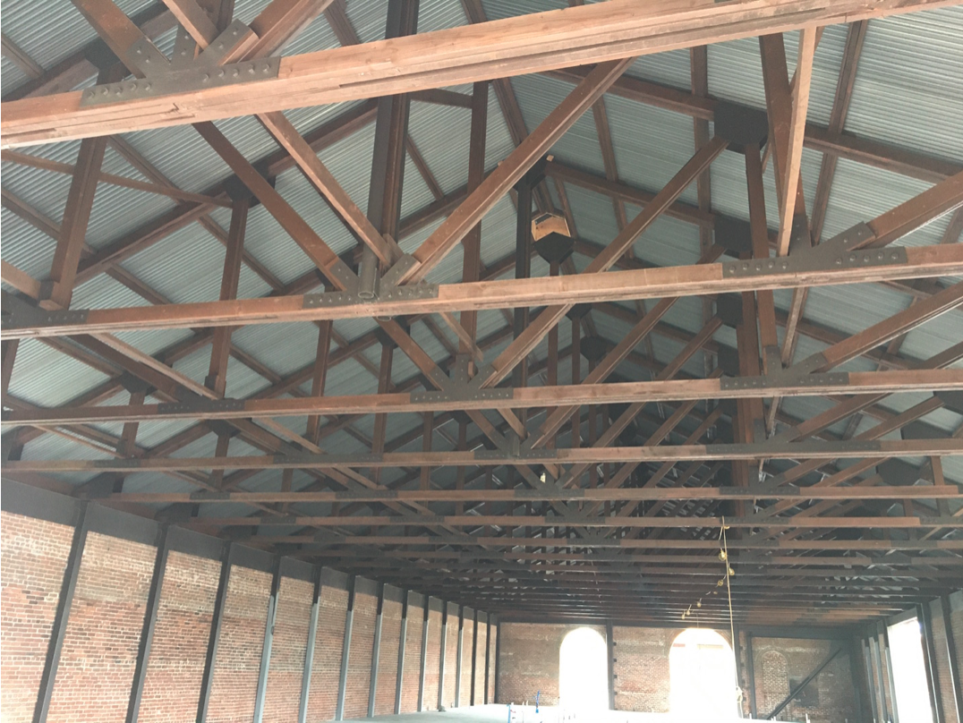 Figure 4 - New Metal Roof with Reinforced Trusses and New Columns (Photograph by the author)