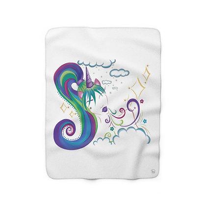 Unicorn Girl Sherpa Fleece Blanket