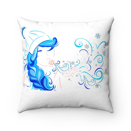 Winter Girl Faux Suede Square Pillow