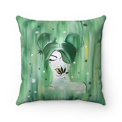 Mary Jane Faux Suede Square Pillow