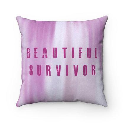 Beautiful Survivor Faux Suede Square Pillow