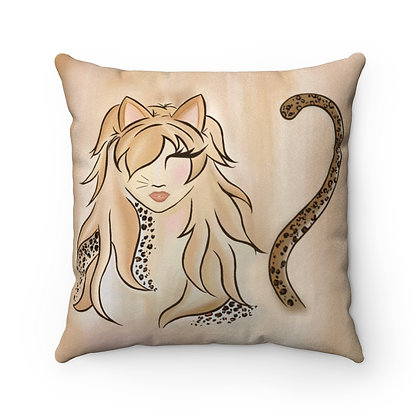 Miss Kitty Faux Suede Square Pillow
