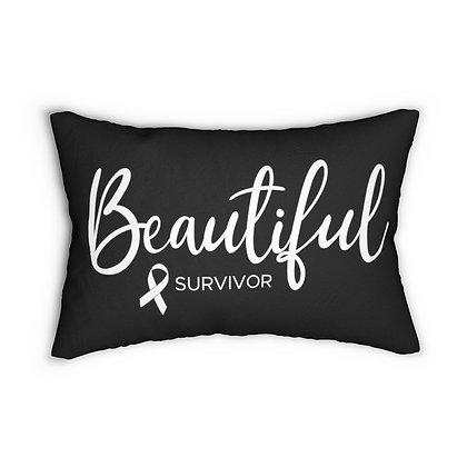 Beautiful Survivor™ Black Lumbar Pillow