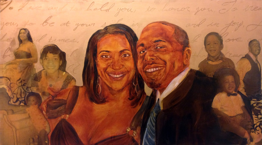 Mr. & Mrs. Jon Michael and Angela Chandler, Oil, Acrylic, Gold Leaf Powder and Xerox Transfer on Hardboard. Details: Wedding Vows ghost written in the background.