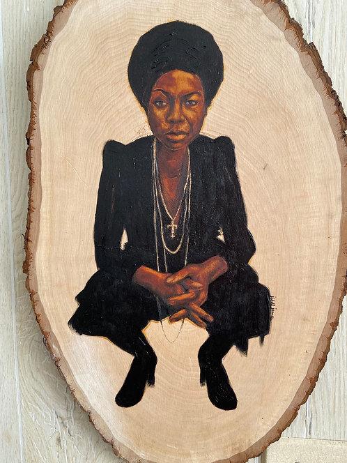 NINA Simone - on natural wood