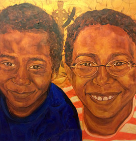 A painting a father had done of his children to show their heritage. Photo transfers of the grandmother and mother on the left (Irish) and grandparents and father on the left (Zimbabwe)  Interested in requesting a painting? Submit inquiry form at link below or email artist directly at info@jnelljordan.com