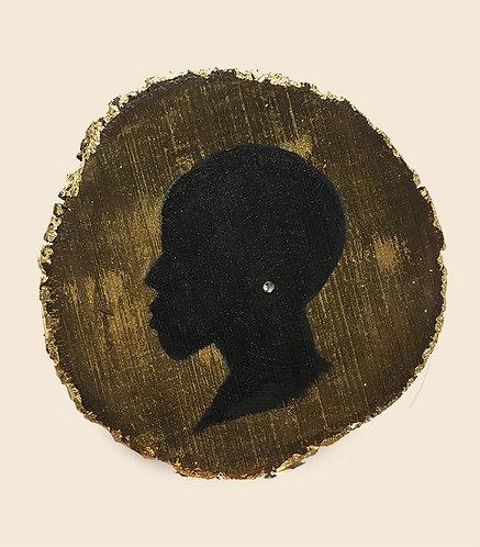 MINI silhouette profile #1 - on natural wood slice
