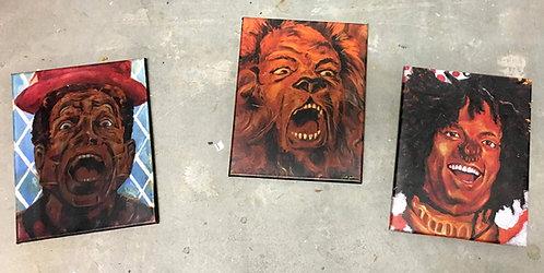 """""""The Wiz"""" Set of 3: Tin Man,Cowardly Lion & Scarecrow  11"""" x 14"""" Canvas Prints"""