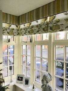 window dressing front room laura ashley Hydreanger Blind stripe pelmet angle 2.jpg