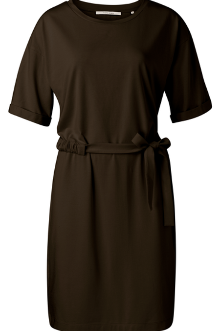 Jersey dress with wrinkled waist cord