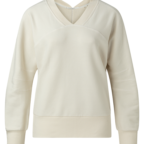 Sweater with rib v-neck  and big sleeves bleached sand