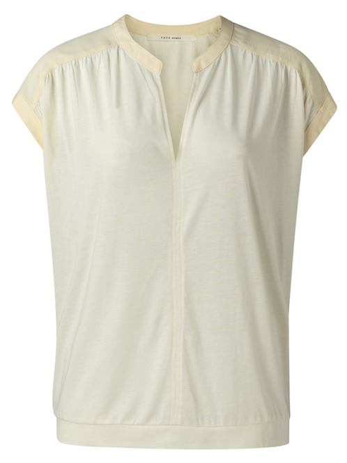 Fabric mix top with v-neck buttermilk