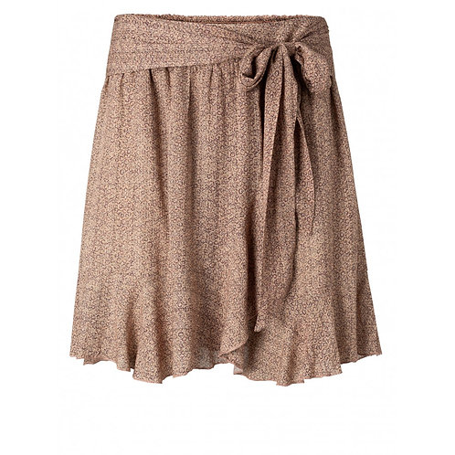 Printed mini skirt with faux wrap effect