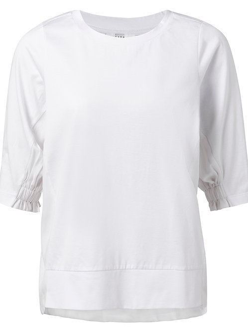 Fabric mix top smocked sleeves