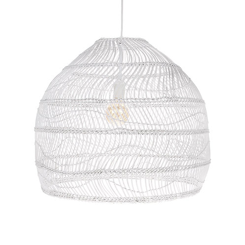 Lampe wicker hanging lamp ball white M