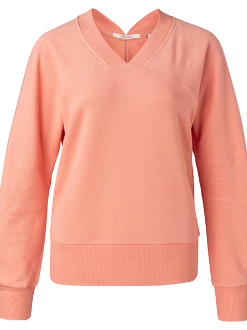 Sweater with rib v-neck  and big sleeves dahlia